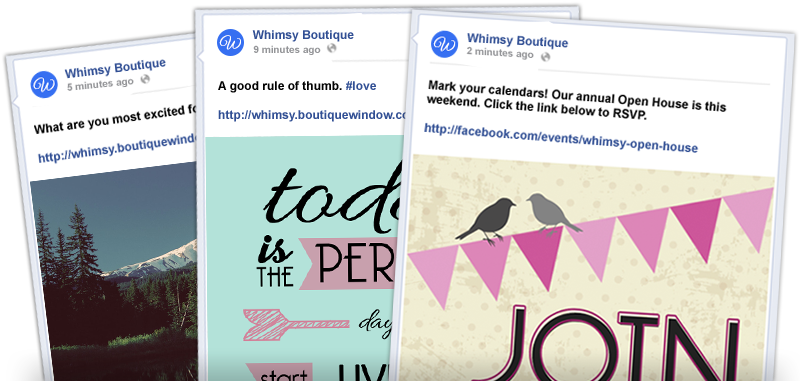 fully designed and written social posts in your boutique window 2014