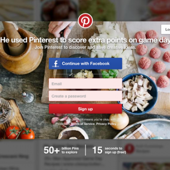 Login to your Pinterest account feature
