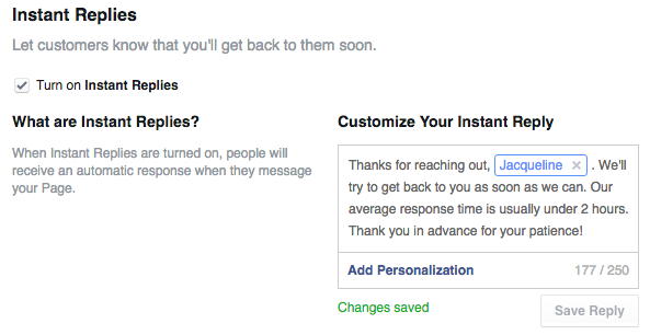 facebook marketing instant replies