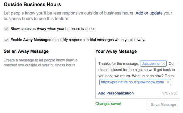facebook marketing outside business hours