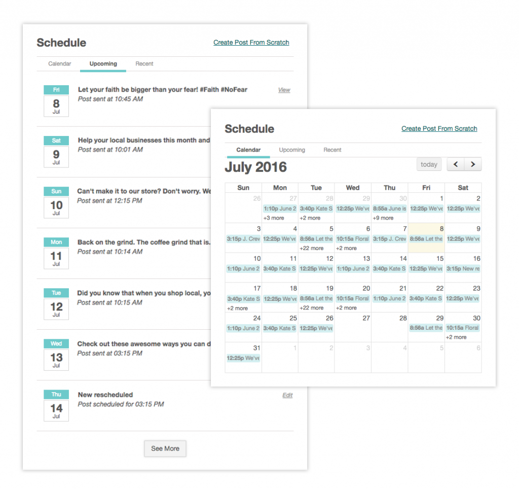 Social media management dashboard calendar with boutique window