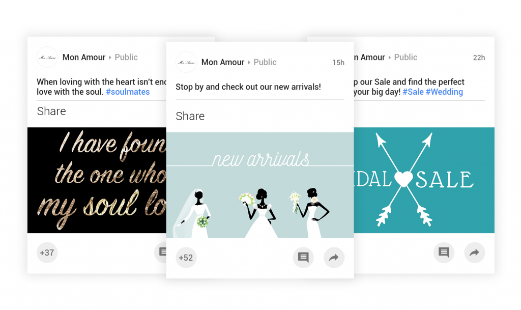 schedule google+ posts and share custom social media content with boutique window