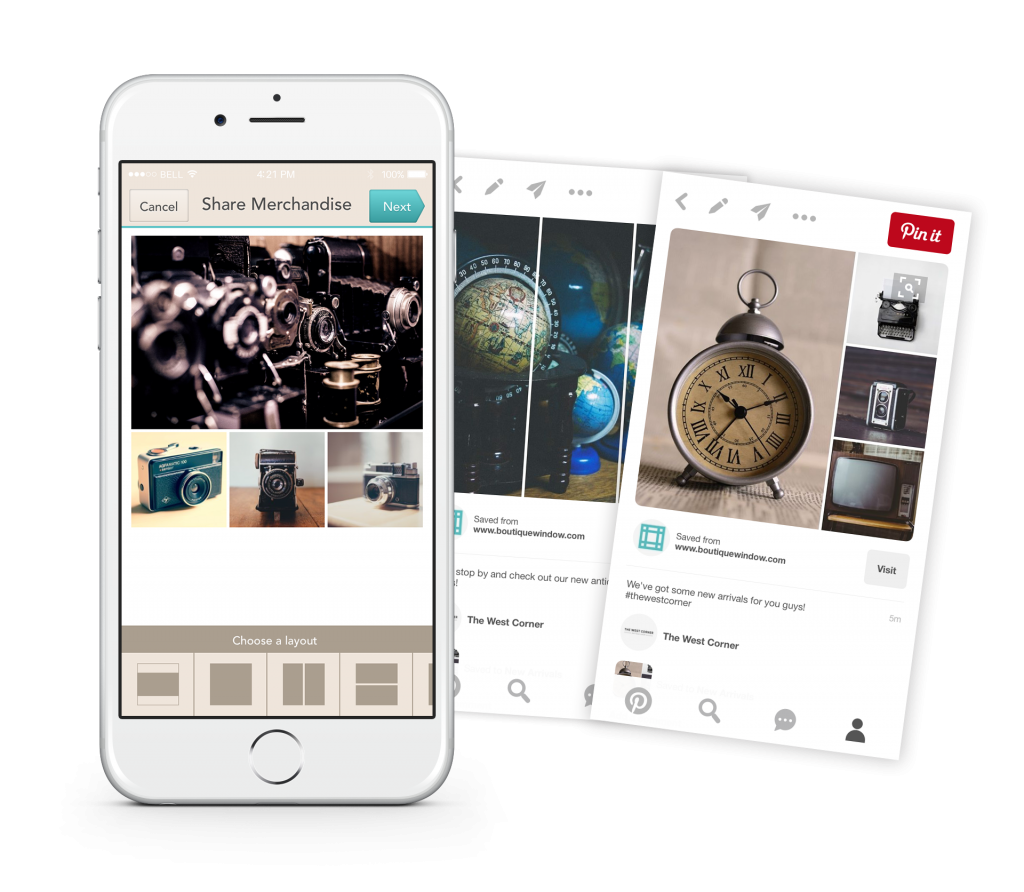 schedule pinterest pins and share product collages with boutique window