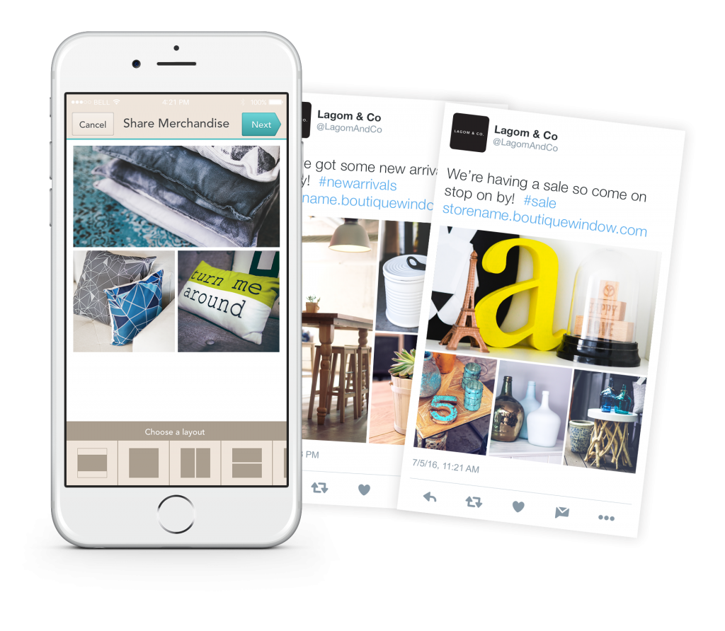 schedule product collages to twitter with boutique window
