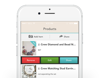 iOS mobile app with boutique window social media management tools