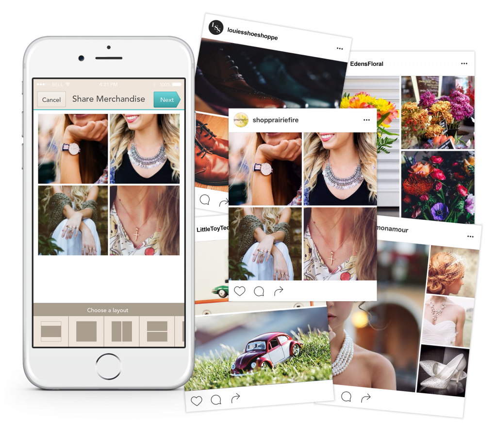 schedule instagram posts and share product collages with boutique window