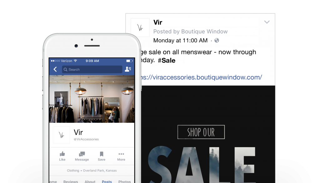 scheduling facebook posts with social media dashboard and boutique window