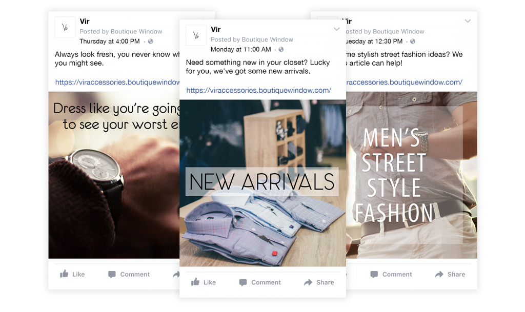 scheduling facebook product posts with boutique window