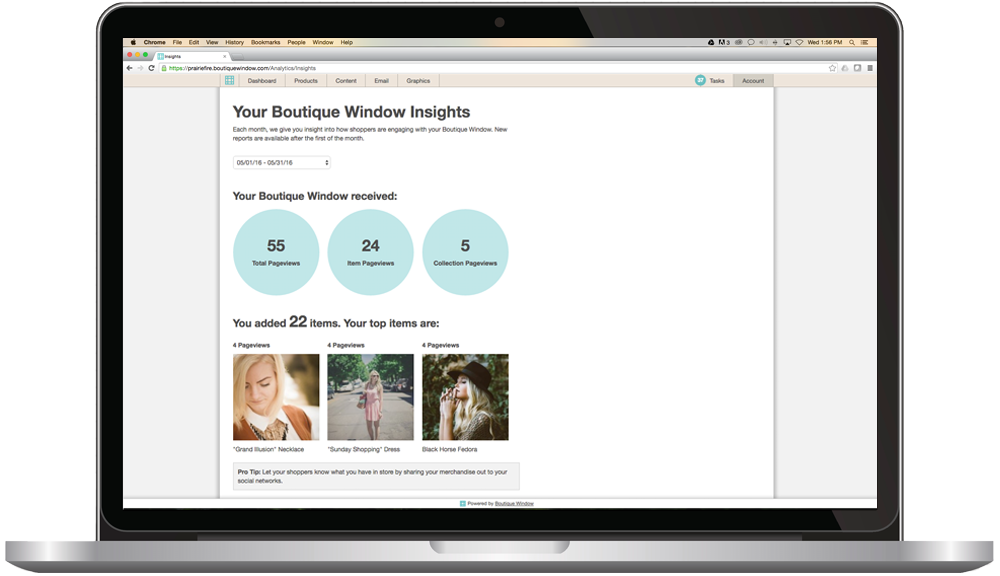 social media management analytics for boutique window platform