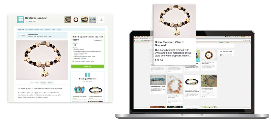 etsy marketing and management using boutique window product gallery for sharing posts