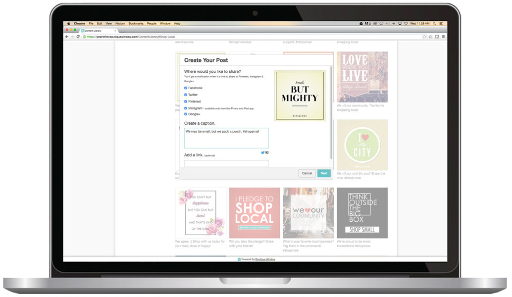 etsy marketing and management using boutique window with a social media dashboard